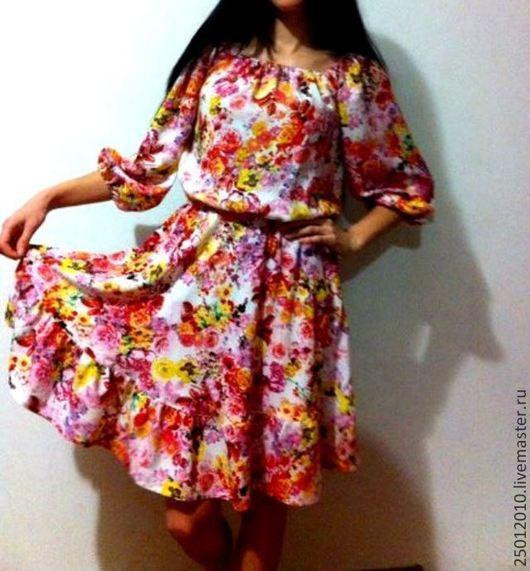 Платья ручной работы. Ярмарка Мастеров - ручная работа. Купить Платье цветочное .. Handmade. Сиреневый, платье на каждый день