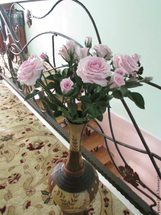 Цветы ручной работы. Ярмарка Мастеров - ручная работа. Купить Кустовая роза. Керамическая флористика.. Handmade. Бледно-розовый, подарок