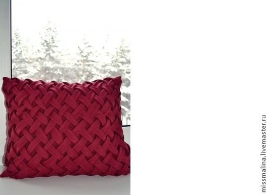 Текстиль, ковры ручной работы. Ярмарка Мастеров - ручная работа. Купить Подушка с буфами. Handmade. Бордовый, подушка, буфы, плетеная