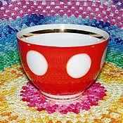 """Посуда ручной работы. Ярмарка Мастеров - ручная работа Чайная чашка """"Горошки"""" СССР (красные в белый горох). Handmade."""
