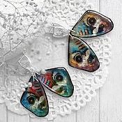 Серьги классические ручной работы. Ярмарка Мастеров - ручная работа Яркие серьги Разноцветные крылья бабочек. Handmade.