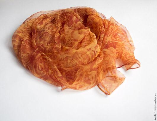 Шали, палантины ручной работы. Ярмарка Мастеров - ручная работа. Купить Натуральный шифоновый  шарф 100% шелк. Handmade. Палантин