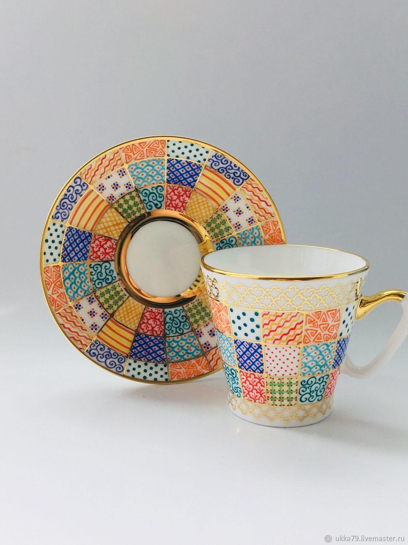 Кофейная пара Лоскутки (костяной фарфор), Чайные пары, Санкт-Петербург,  Фото №1