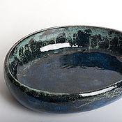Посуда ручной работы. Ярмарка Мастеров - ручная работа Керамическая емкость в сине-зеленых разводах. Handmade.