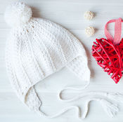 Аксессуары handmade. Livemaster - original item Beanie knitted crochet white photo shoot on Valentine`s day. Handmade.