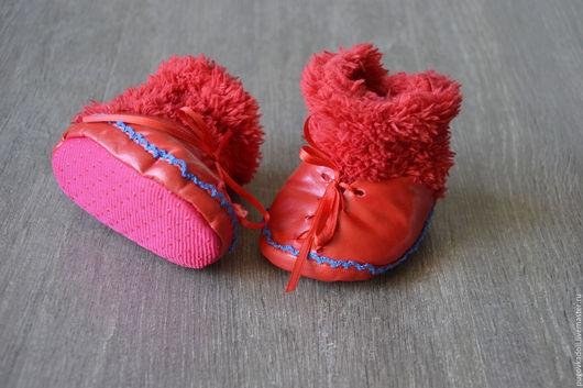 Куклы и игрушки ручной работы. Ярмарка Мастеров - ручная работа. Купить Сапожки для кукол Большеножек. Handmade. Ярко-красный, пинетки