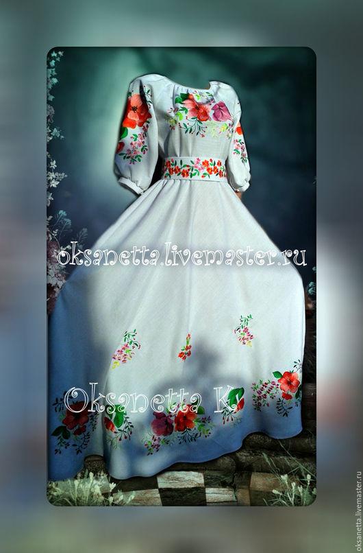 """Платья ручной работы. Ярмарка Мастеров - ручная работа. Купить Платье с вышивкой """"Весенняя феерия"""". Handmade. Вышиванка, Платье белое"""