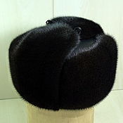 Одежда handmade. Livemaster - original item Hat mens. Classic ushanka mink and natures. leather or suede. Handmade.
