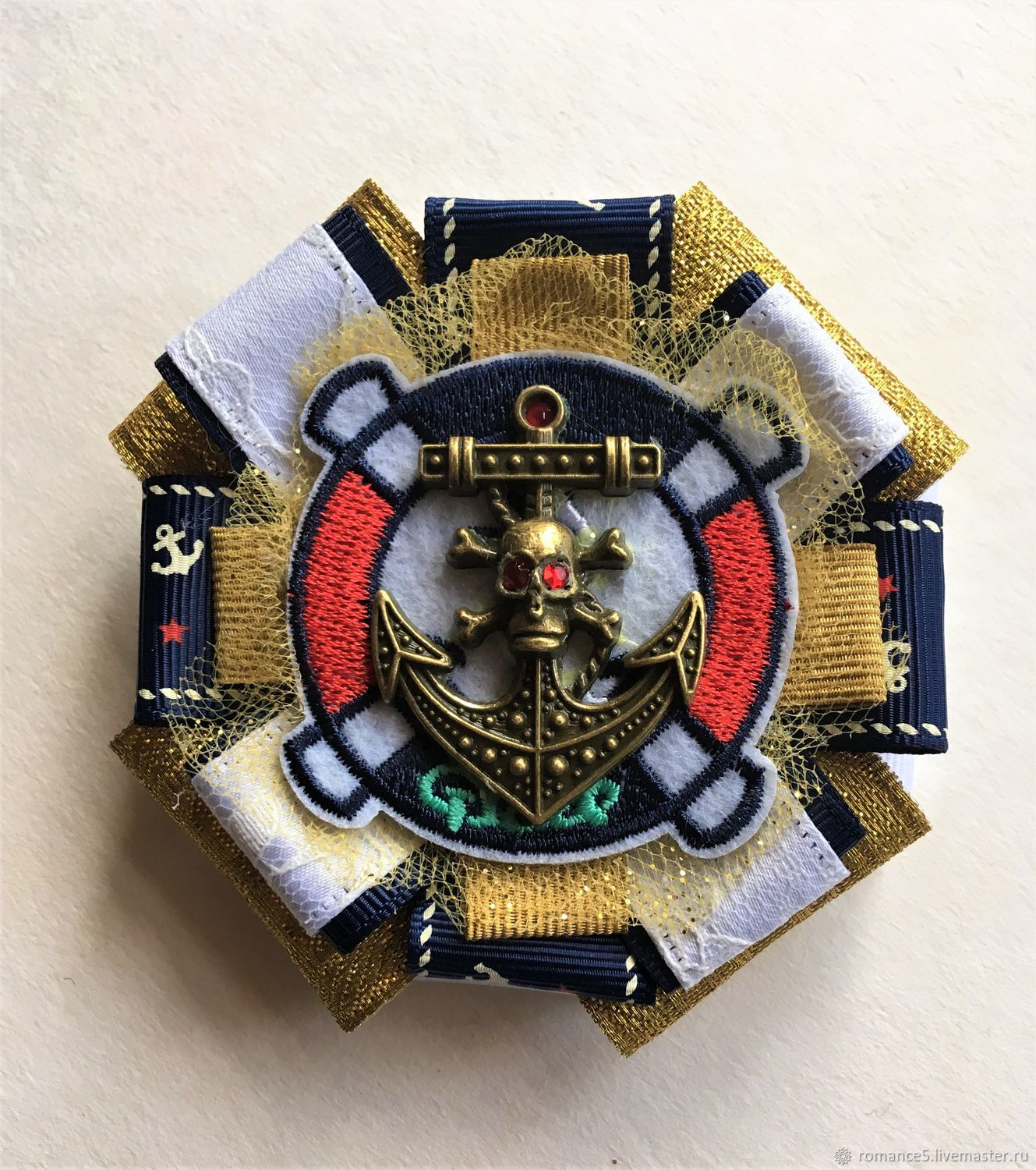Textile brooch in a marine style 'of the Sea regatta', Brooches, Moscow,  Фото №1