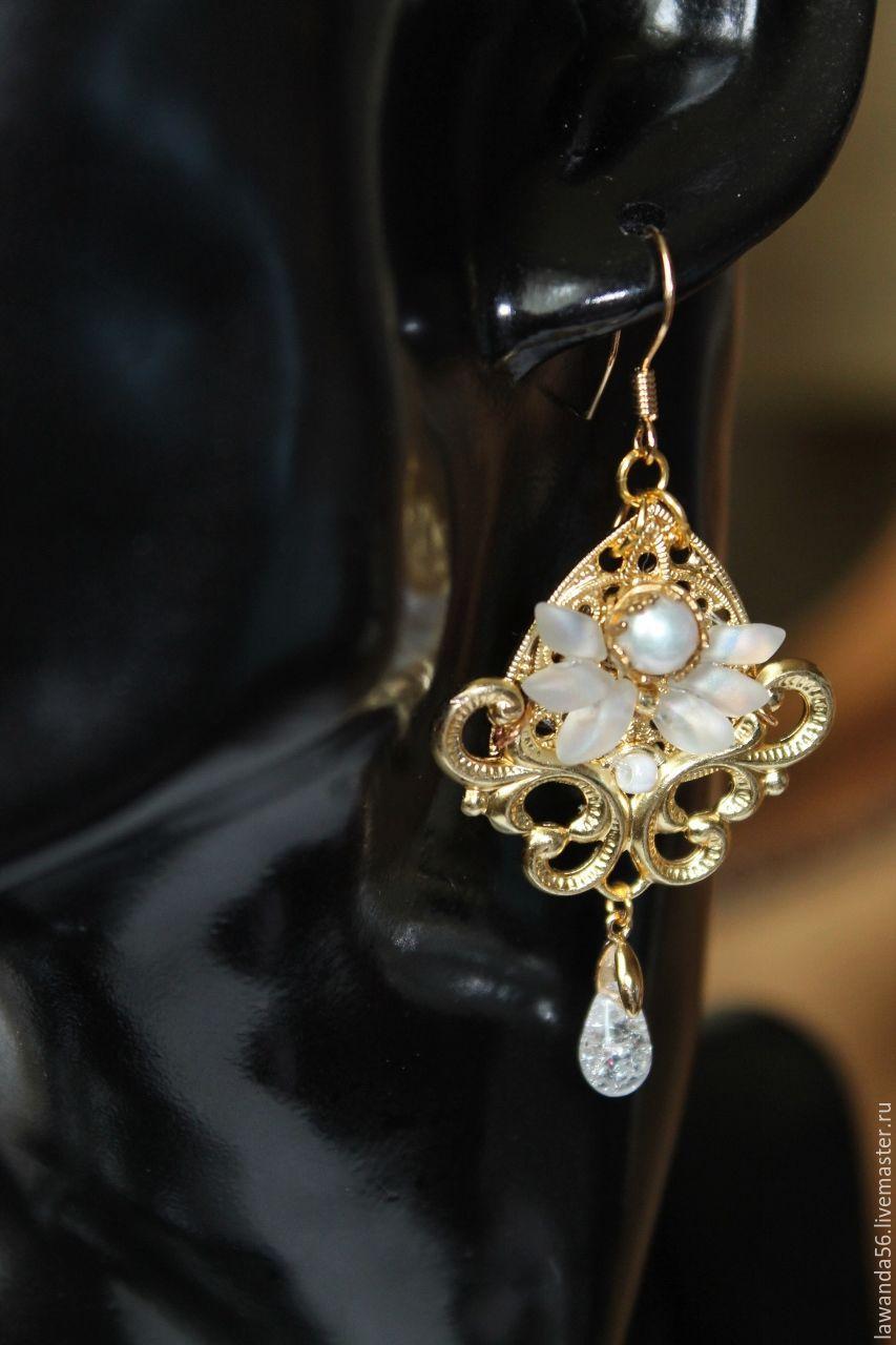 Earrings gold plated vintage style natural pearl Luxury, Earrings, Krasnoyarsk,  Фото №1