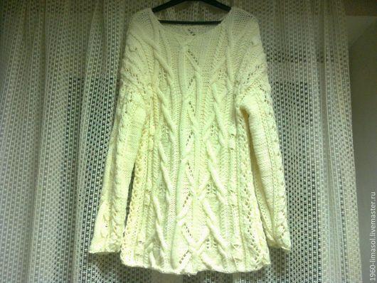 """Кофты и свитера ручной работы. Ярмарка Мастеров - ручная работа. Купить свитер женский вязаный """"Араны"""". Handmade. Бежевый, полушерсть"""