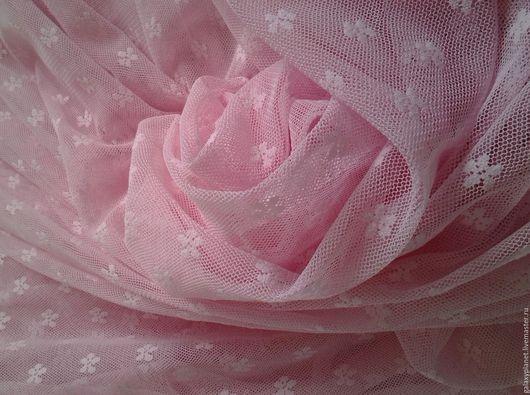 Шитье ручной работы. Ярмарка Мастеров - ручная работа. Купить Сетка-стрейч нежно-розовая с маленькими цветочками.. Handmade.