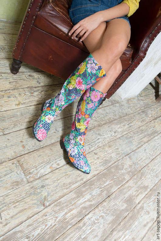 Обувь ручной работы. Ярмарка Мастеров - ручная работа. Купить Летние сапоги 5а-269 (ВЧ). Handmade. сделано с любовью