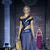 Одежда ручной работы. Ярмарка Мастеров - ручная работа Вечернее платье из натуральной кожи и шелка. Handmade.