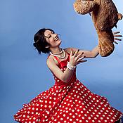 """Платья ручной работы. Ярмарка Мастеров - ручная работа Платье в стиле 50-х """"Красное в горох"""". Handmade."""