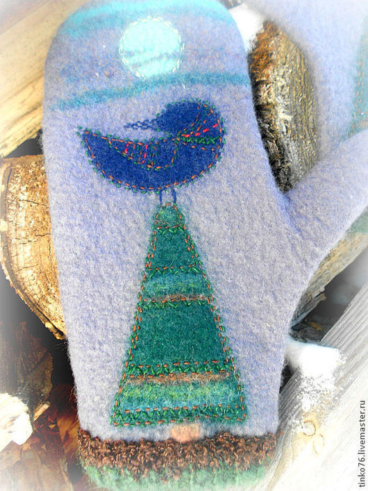 Варежки, митенки, перчатки ручной работы. Ярмарка Мастеров - ручная работа. Купить Счастливые рукавички.. Handmade. Серый, птица счастья