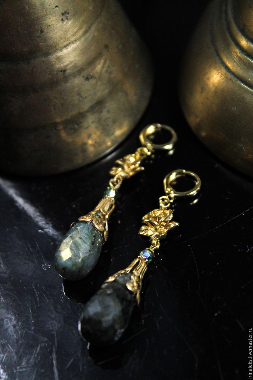 Earrings of labradorite 'the Stone flower', Earrings, Nizhny Novgorod,  Фото №1
