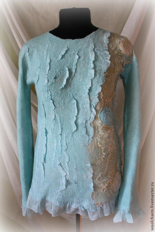 Кофты и свитера ручной работы. Ярмарка Мастеров - ручная работа. Купить Джемпер валяный Мятный пунш. Handmade. Мятный