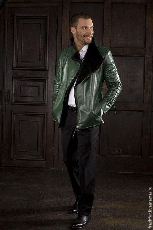 Верхняя одежда ручной работы. Ярмарка Мастеров - ручная работа. Купить куртка мужская зимняя. Handmade. Тёмно-зелёный, кожаная