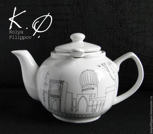"""Чайники, кофейники ручной работы. Ярмарка Мастеров - ручная работа. Купить Чайник """"Самарканд"""" заварочный с ситечком. Handmade. Белый"""