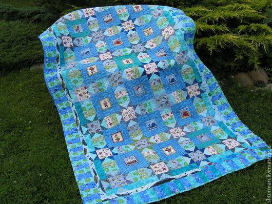 """Пледы и одеяла ручной работы. Ярмарка Мастеров - ручная работа. Купить Детское одеяло """"Пираты"""". Handmade. Голубой, лоскутное покрывало"""