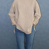 Блузки ручной работы. Ярмарка Мастеров - ручная работа Рубашка в полоску из хлопка со льном. Handmade.