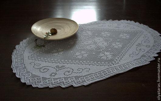 """Текстиль, ковры ручной работы. Ярмарка Мастеров - ручная работа. Купить Скатерть """"Милый дом"""".. Handmade. Белый, Салфетка вязаная"""