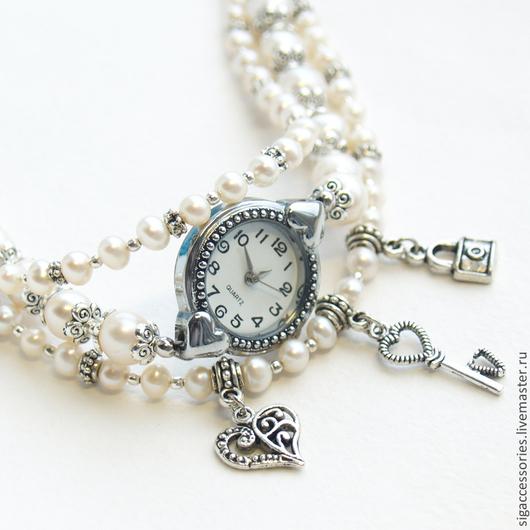 Часы браслет Моя тайна, натуральный жемчуг, с сердечком
