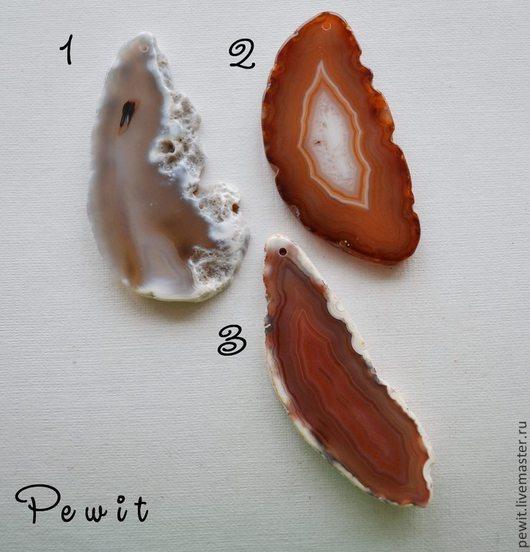Для украшений ручной работы. Ярмарка Мастеров - ручная работа. Купить Подвески-спилы агата, белый+оранж. Handmade. Агат, подвеска