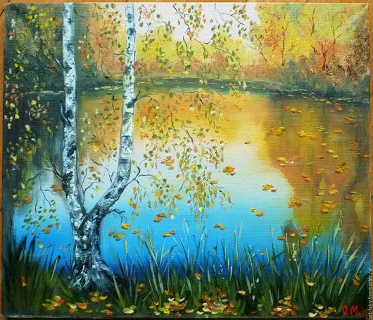 Пейзаж ручной работы. Ярмарка Мастеров - ручная работа. Купить Золотая осень. Handmade. Желтый, картина для интерьера, пейзаж с водой