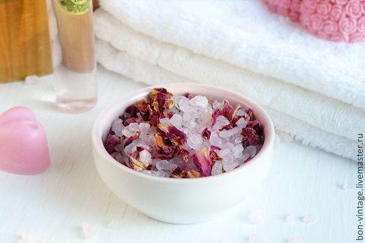 Соль для ванны ручной работы. Ярмарка Мастеров - ручная работа. Купить Розы - соль для ванны. Handmade. Бледно-розовый