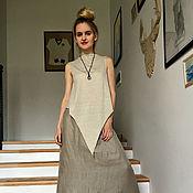 Одежда ручной работы. Ярмарка Мастеров - ручная работа Топ с длинным углом LINEN. Handmade.