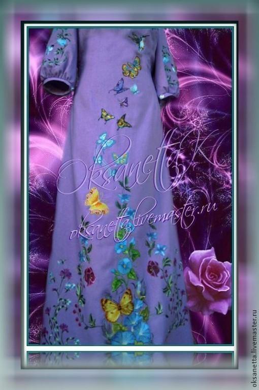 """Платья ручной работы. Ярмарка Мастеров - ручная работа. Купить Платье """"Полёт бабочек с колибри"""". Handmade. Купить платье с вышивкой"""
