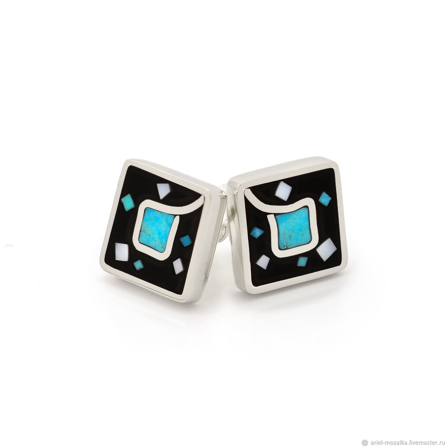 earrings studs. Natural turquoise, mother-of-pearl and black enamel, Stud earrings, Moscow,  Фото №1