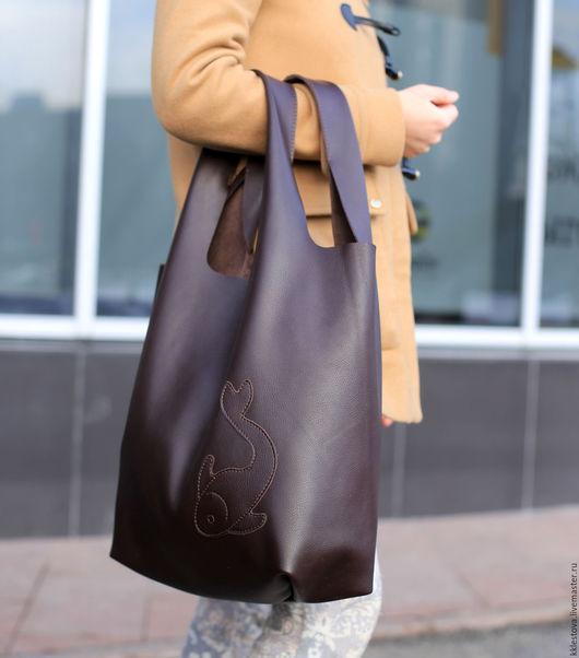 Женские сумки ручной работы. Ярмарка Мастеров - ручная работа. Купить Сумка-мешок из кожи КРС - Сумка-майка - Тоут - Шоппер - Пакет. Handmade.