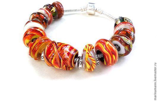 """Браслеты ручной работы. Ярмарка Мастеров - ручная работа. Купить """"Оранжевое настроение"""", lampwork-браслет ручной работы. Handmade."""