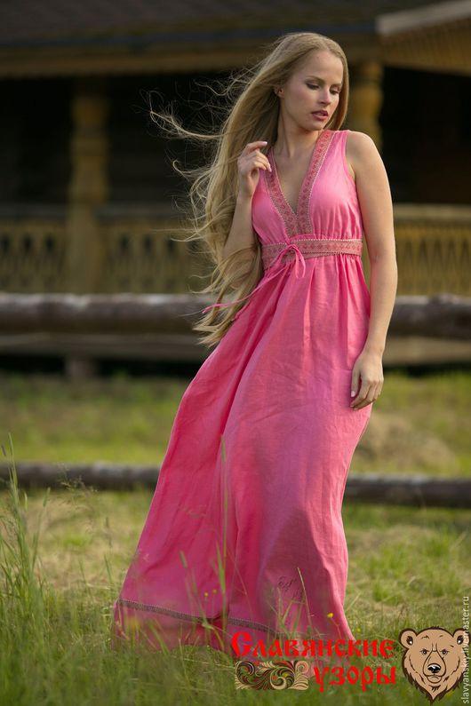 """Платья ручной работы. Ярмарка Мастеров - ручная работа. Купить Платье льняное """"Жива"""" розовое. Handmade. Розовый, льняное платье"""