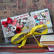 """Открытки ручной работы. Ярмарка Мастеров - ручная работа Конверт для денег """"Микки + Минни"""". Handmade."""