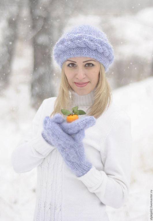 Шапки ручной работы. Ярмарка Мастеров - ручная работа. Купить Пушистая зима- шапочка с косой на подкладе теплая, зимняя. Handmade.