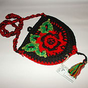 Сумки и аксессуары handmade. Livemaster - original item Crochet bag purse with floral decoration 2. Handmade.