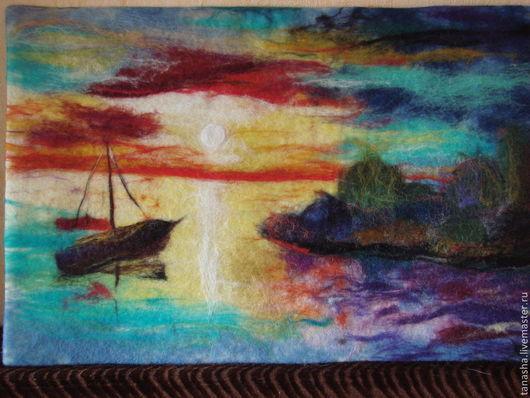 """Пейзаж ручной работы. Ярмарка Мастеров - ручная работа. Купить Шерстяная акварель """"Рассвет у моря"""". Handmade. Картина, картина в подарок"""