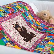 """Для дома и интерьера ручной работы. Ярмарка Мастеров - ручная работа Ватное""""Мишка""""лоскутное для новорождённого одеяло. Handmade."""