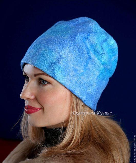 Шапки ручной работы. Ярмарка Мастеров - ручная работа. Купить Шапка валяная...женская...голубая. Handmade. Шапка шапка шапка