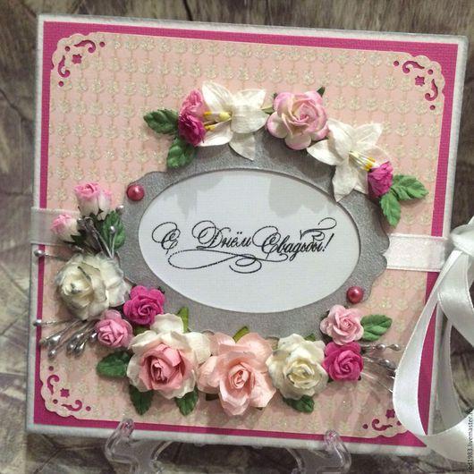 Открытки к другим праздникам ручной работы. Ярмарка Мастеров - ручная работа. Купить Свадебная открытка в розовых тонах. Handmade. Розовый
