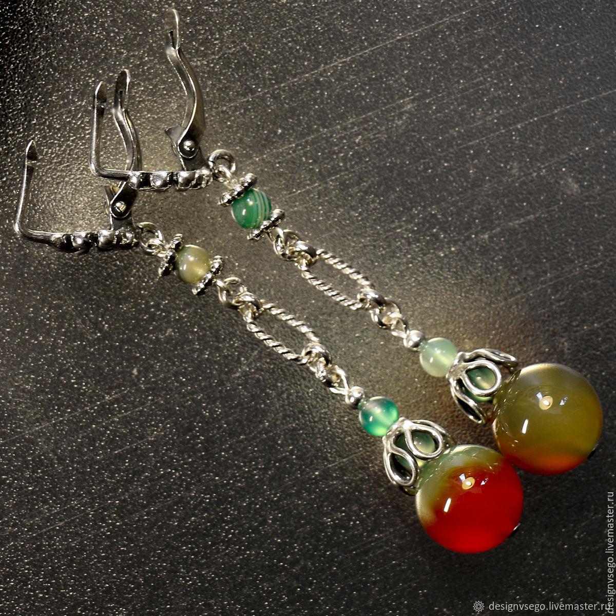 Bright agate earrings, Earrings, Moscow,  Фото №1