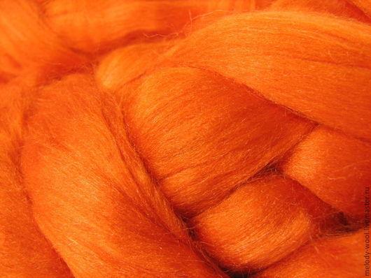 Валяние ручной работы. Ярмарка Мастеров - ручная работа. Купить Шелк Тусса. Цвет Оранжевый (Orange). Handmade. Оранжевый