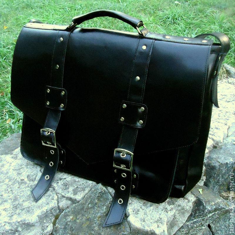 Portfolio: Leather messenger bag CHARLIE black, Brief case, Izhevsk,  Фото №1