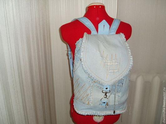 """Рюкзаки ручной работы. Ярмарка Мастеров - ручная работа. Купить Рюкзак женский """"Хиппи"""". Handmade. Голубой, удобный рюкзак"""