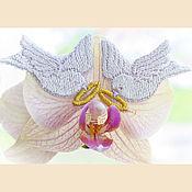 Материалы для творчества handmade. Livemaster - original item decal patch Wedding dove with a wedding ring embroidery. Handmade.