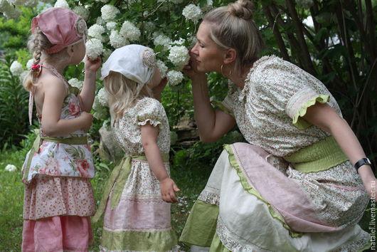 Платья ручной работы. Ярмарка Мастеров - ручная работа. Купить Платья  family look для мамы и дочки, бохо стиль, прованс, винтаж. Handmade.
